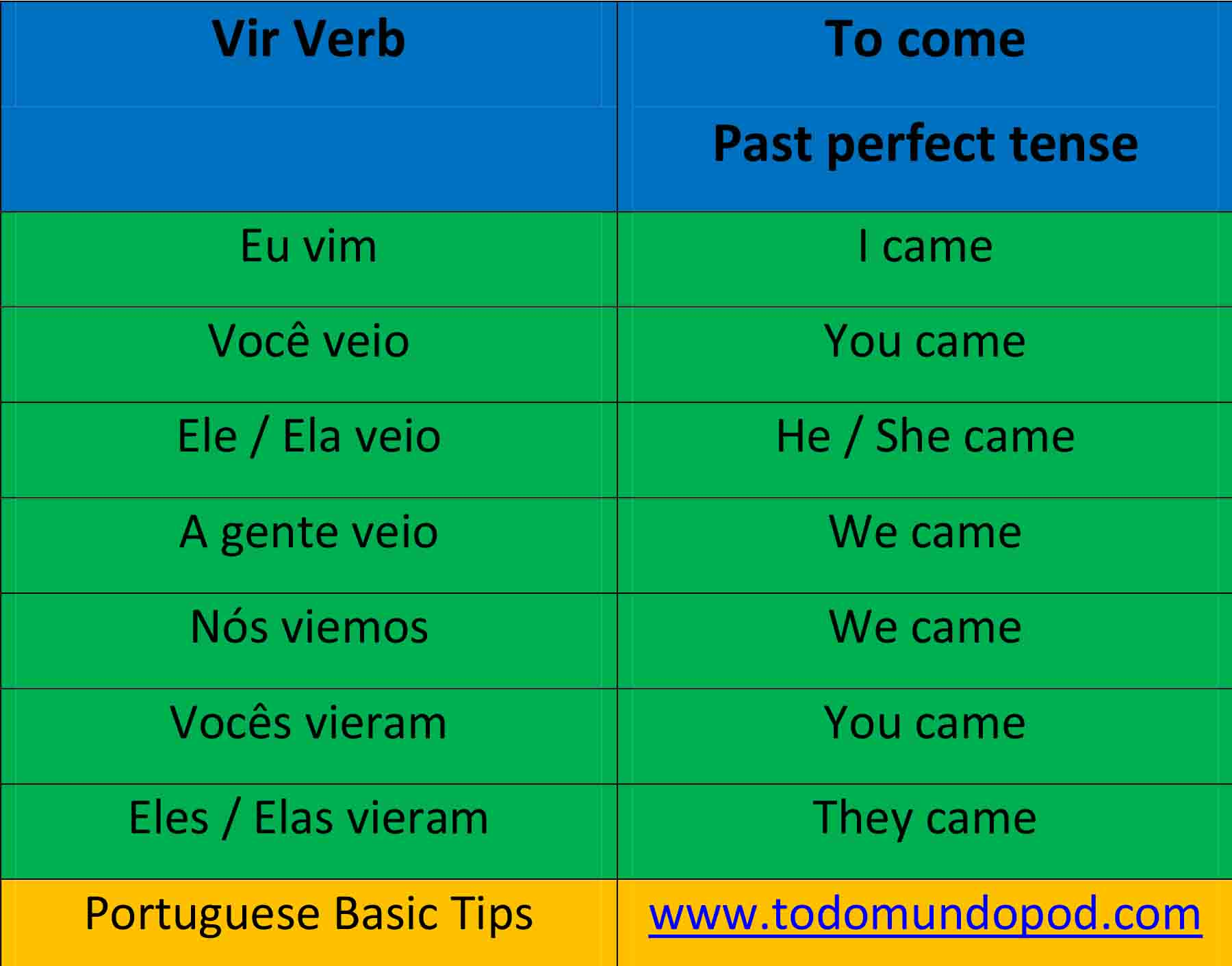 Vir verb conjugation in Portuguese - past perfect tense